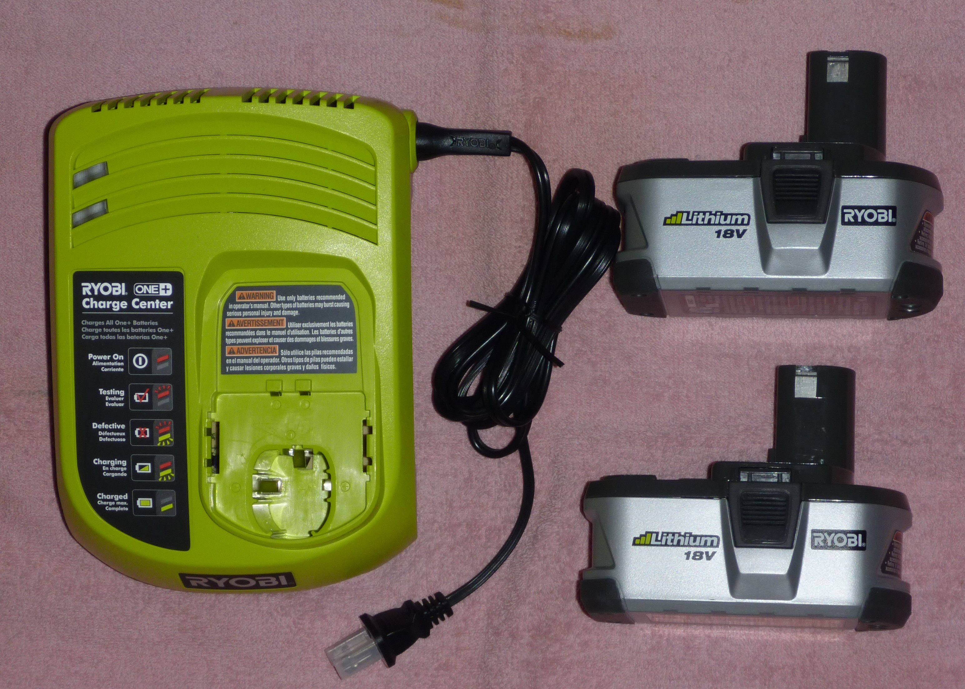 two ryobi one p104 18v lithium batteries charger new ebay. Black Bedroom Furniture Sets. Home Design Ideas